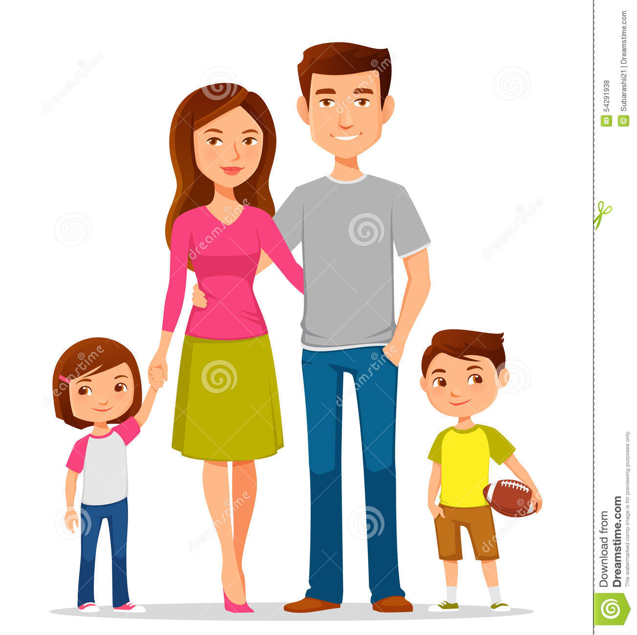 Cartoon Family In Colorful Casual Clothes Stock Vector - Image ...