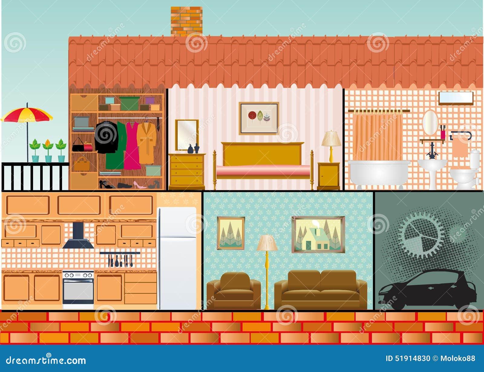 Cartoon Family House Stock Vector Image 51914830