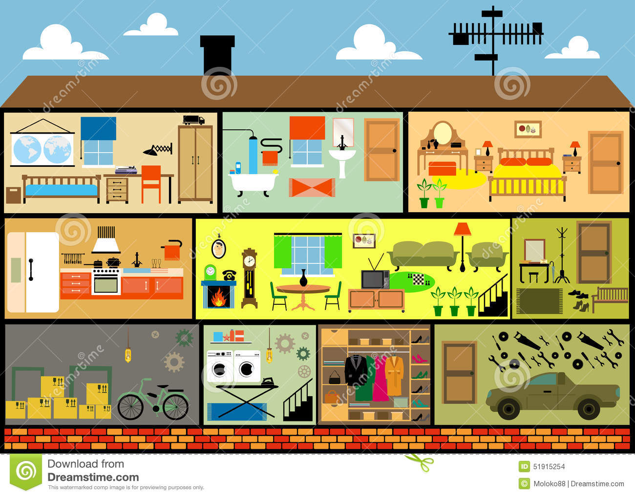 Cartoon Family House Stock Vector Illustration Of Front
