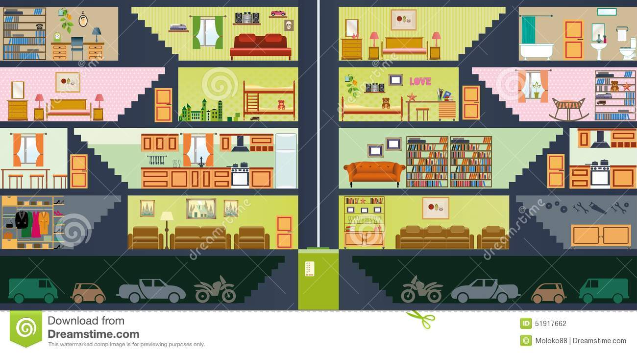 Cartoon Family House Interior Living Rooms Furniture