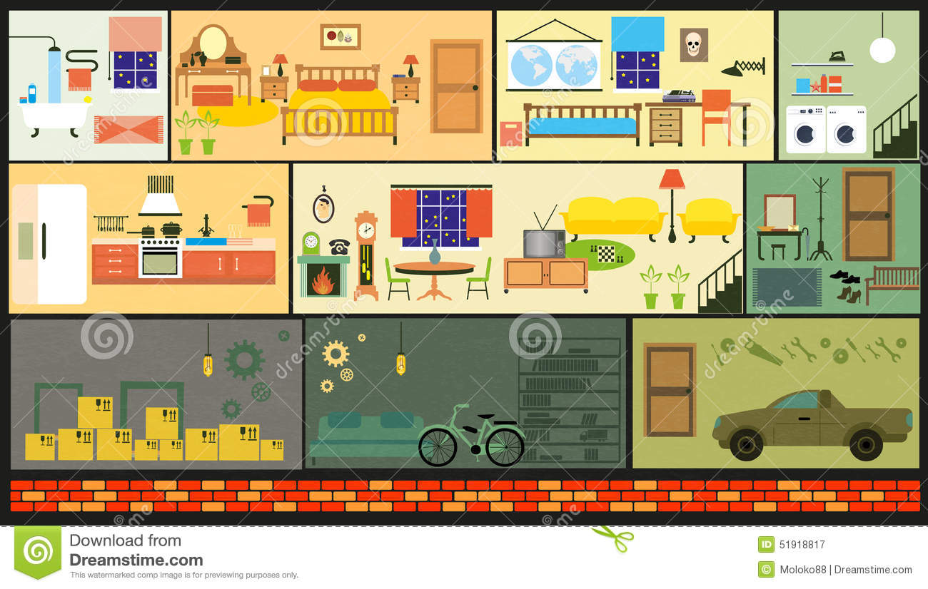 Cartoon Family House Stock Vector Image 51918817