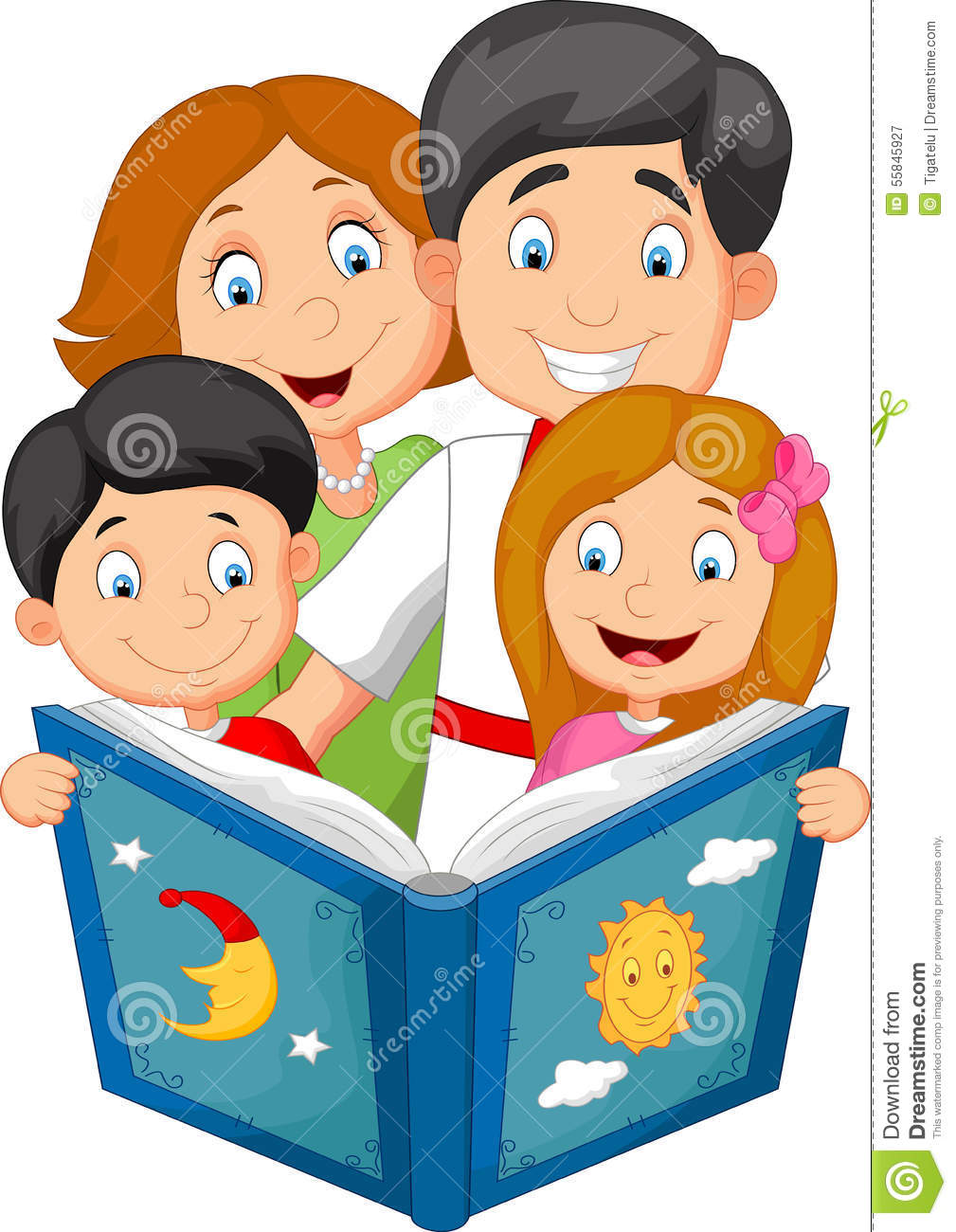 Cartoon Family Read A Bedtime Story Stock Vector - Image: 55845927