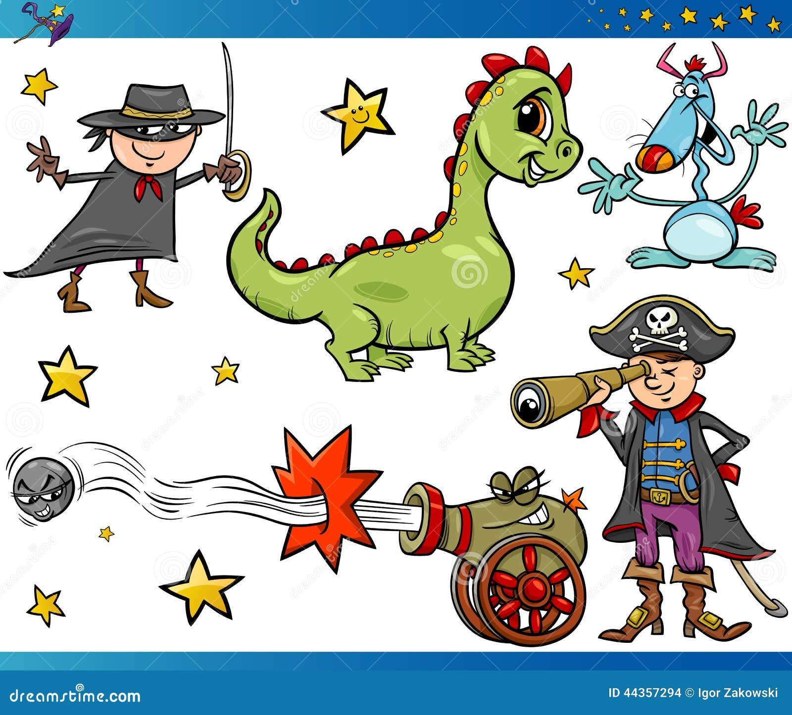 Cartoon fantasy characters set vector illustration
