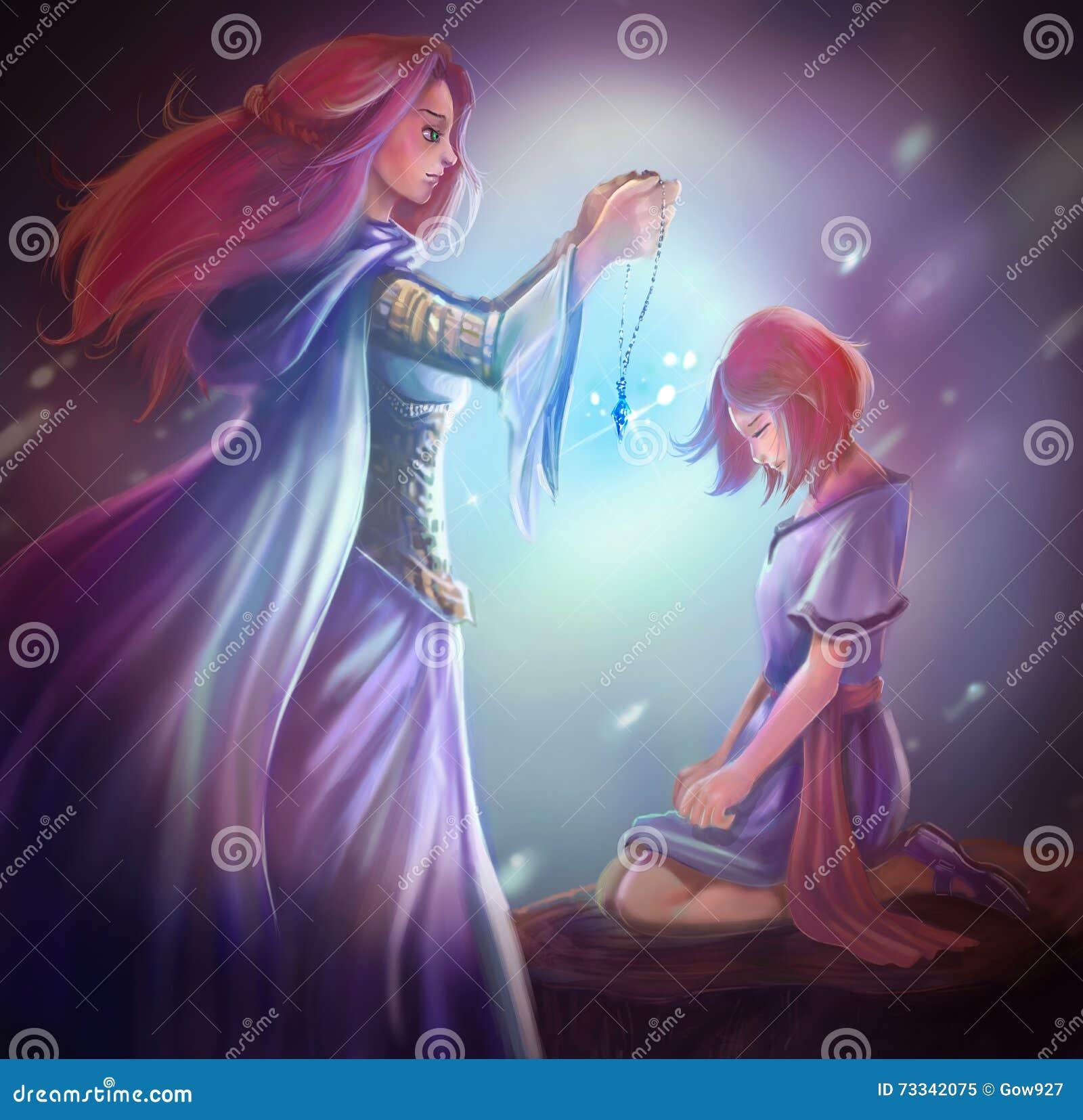 Cartoon fantasy goddess queen gives crystal pendant to girl