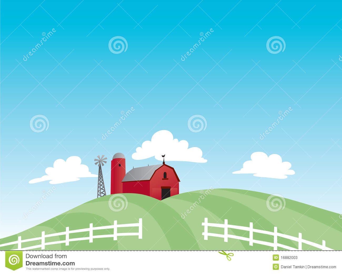 Cartoon farm with red barn a silo and windmill set on rolling hills