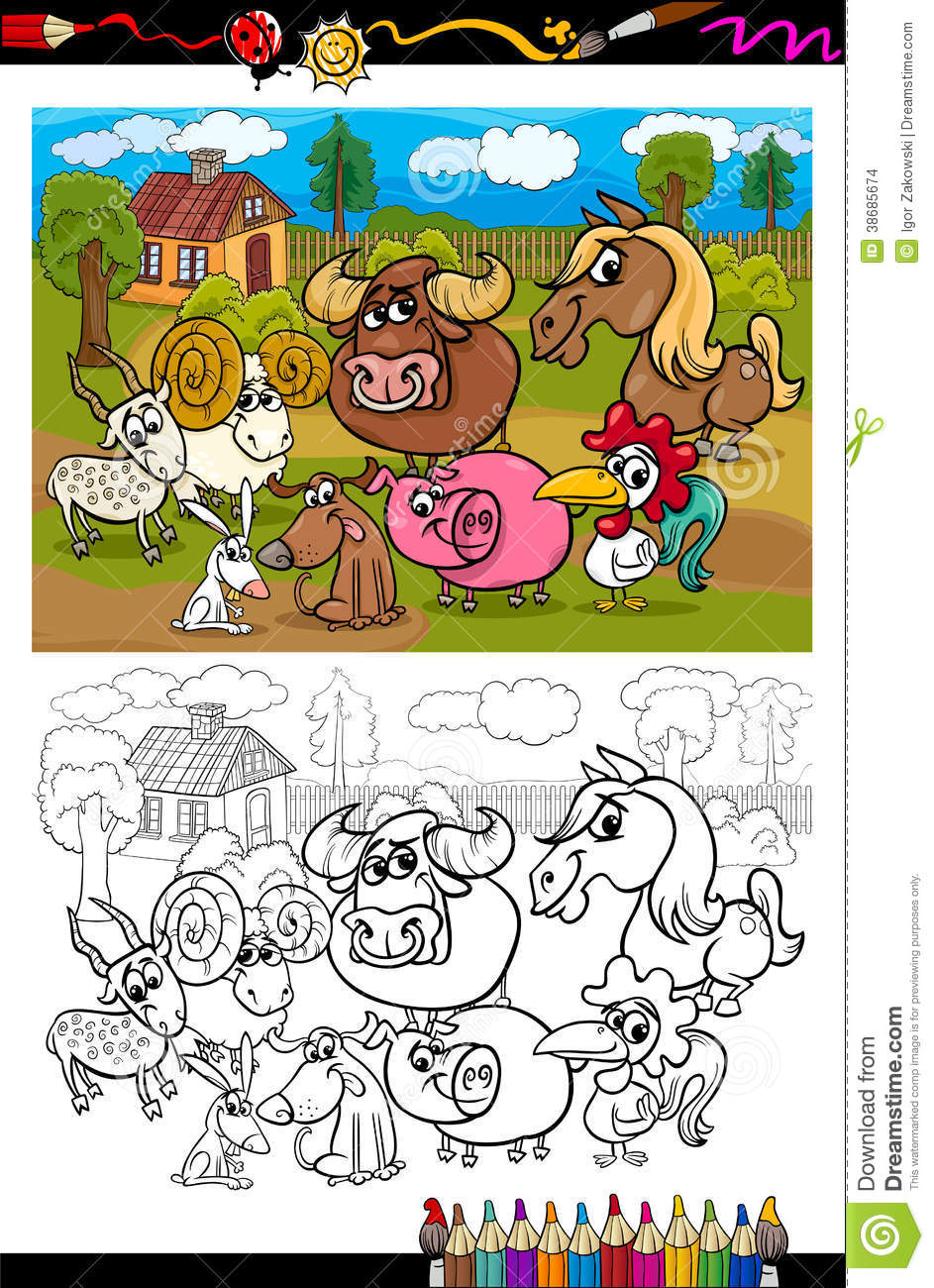 Coloring book pages farm animals - Cartoon Farm Animals For Coloring Book