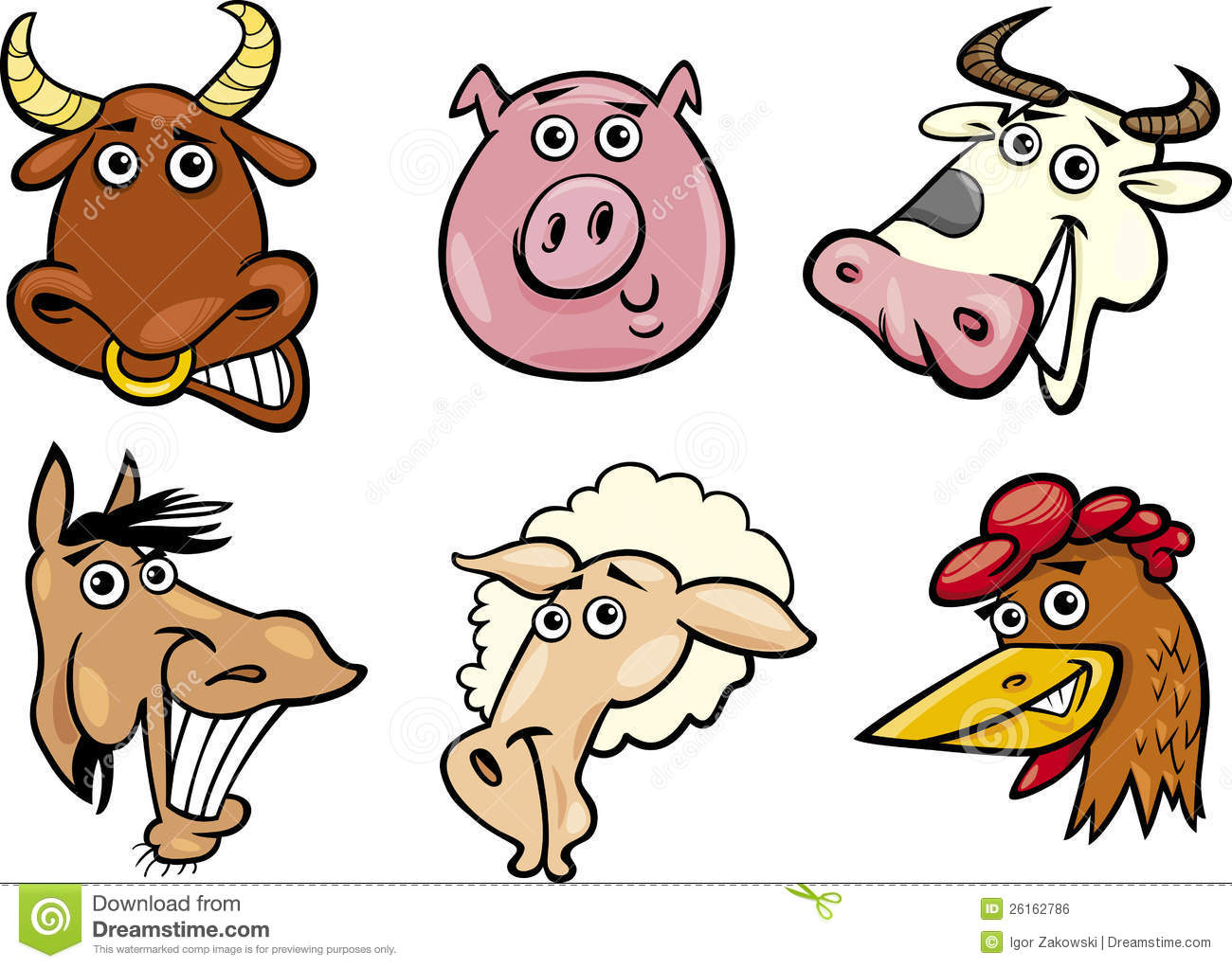 Cartoon Farm Animals Heads Set Royalty Free Stock Image ...