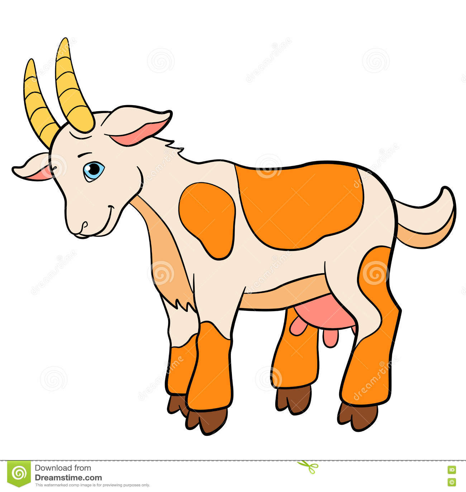 cartoon farm animals for kids cute goat smiles stock vector