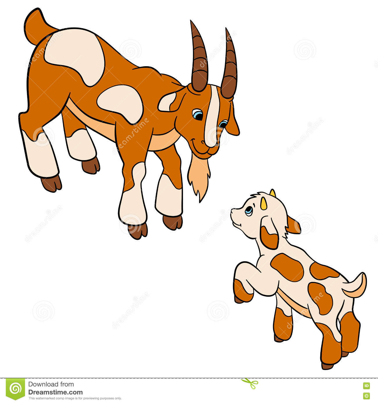 cartoon farm animals for kids father goat with his baby goat