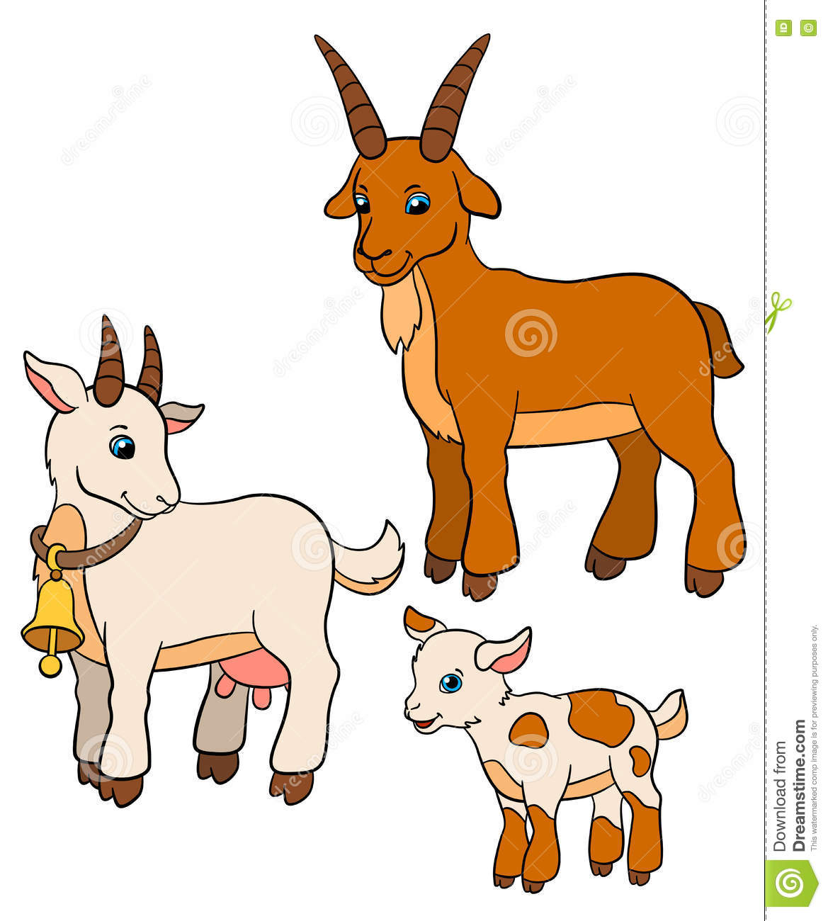 cartoon farm animals for kids goat family stock vector - Animals Pictures For Kids Free Download