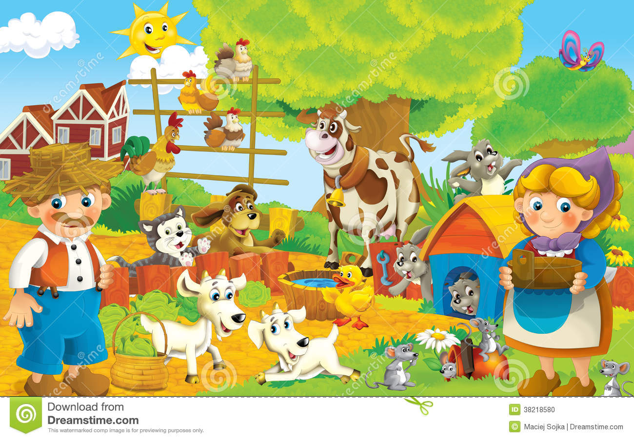 cartoon farm illustration for the children stock
