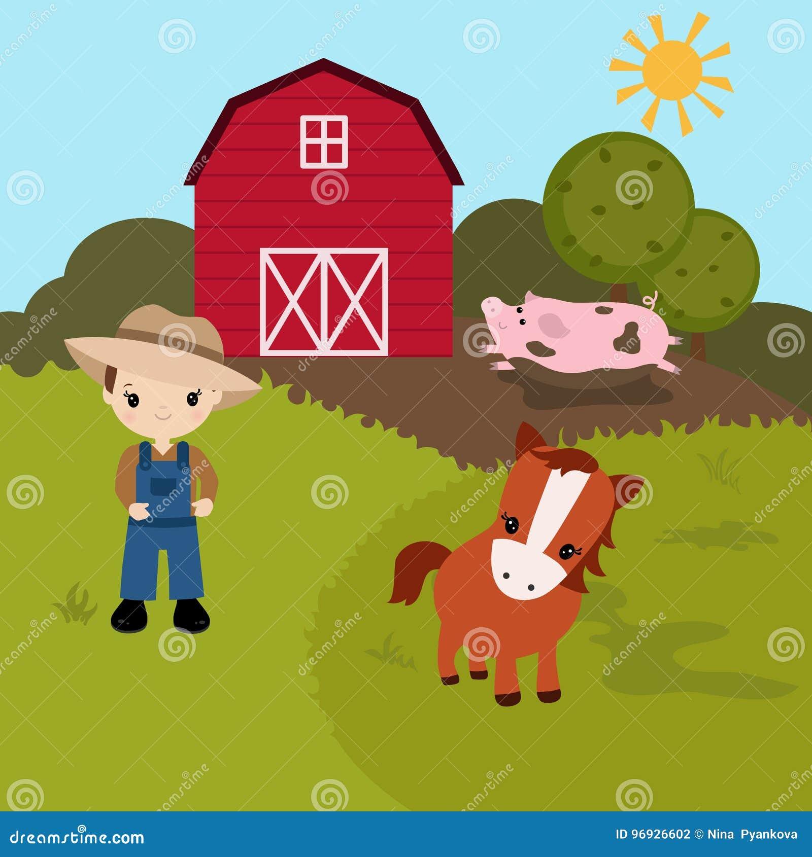 cartoon farm landscape stock vector illustration of illustration