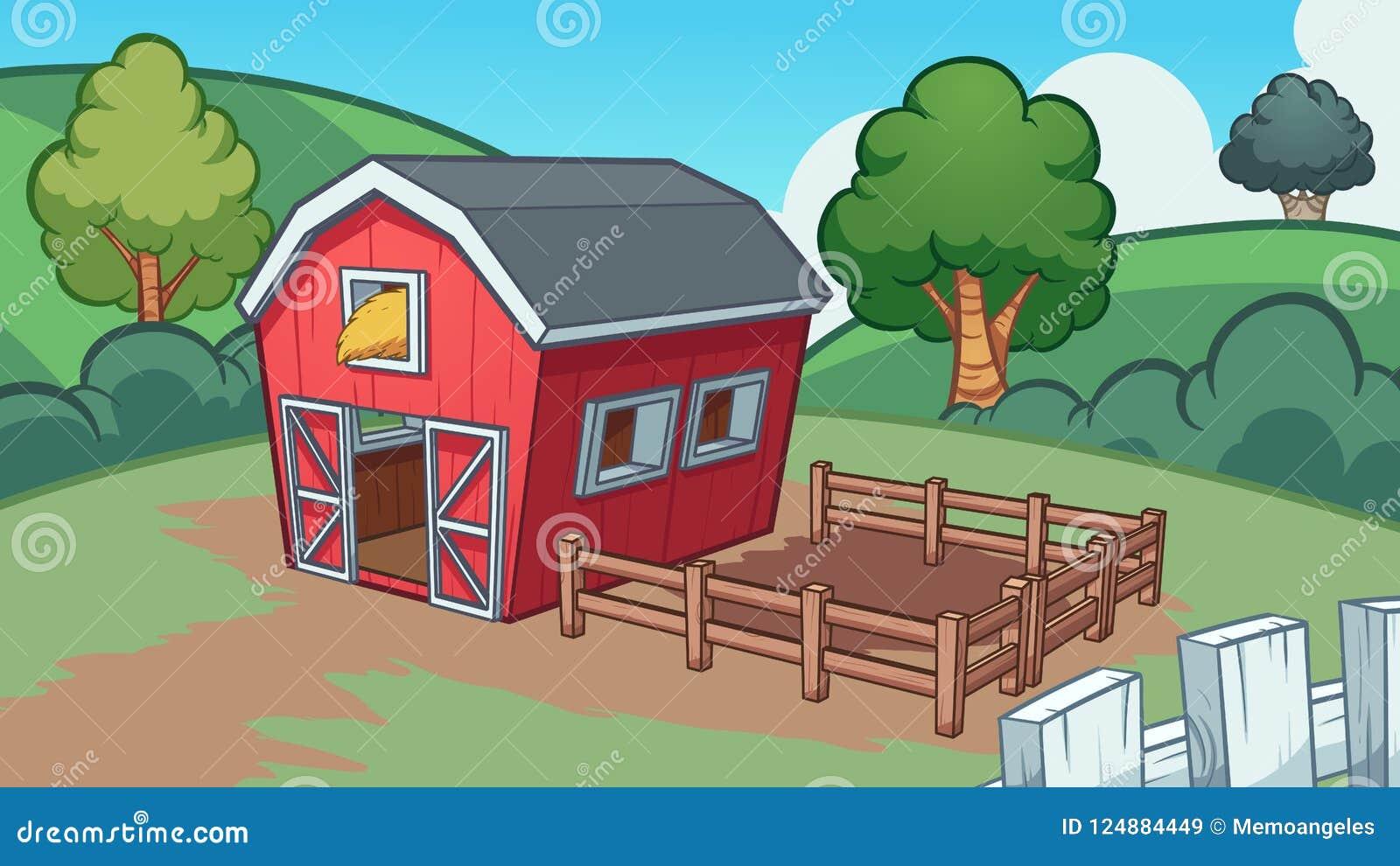Cartoon Farm With Red Barn Stock Vector Illustration Of
