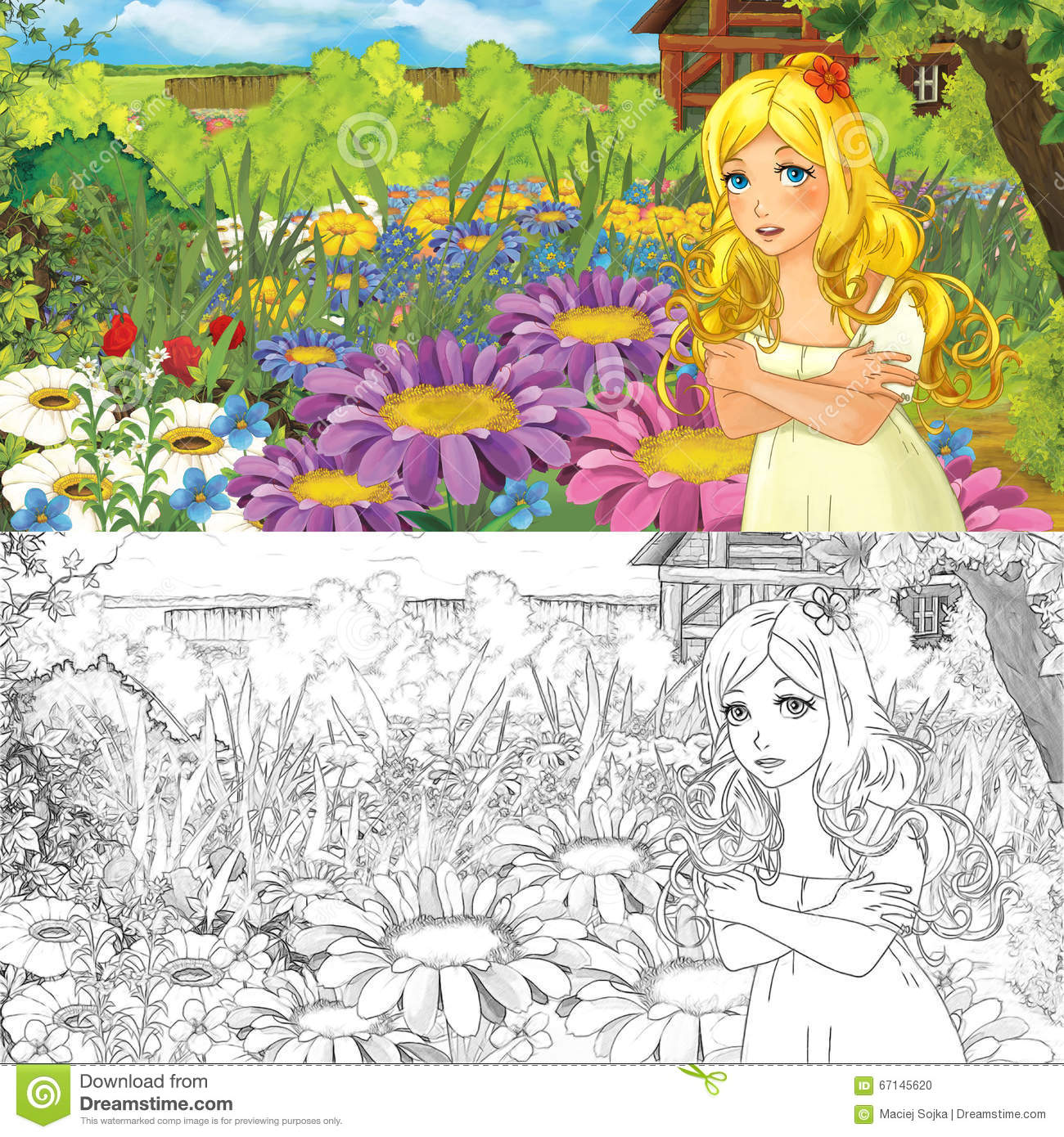 Cartoon Farm Scene With Little Elf Girl On Flowers - With Coloring ...