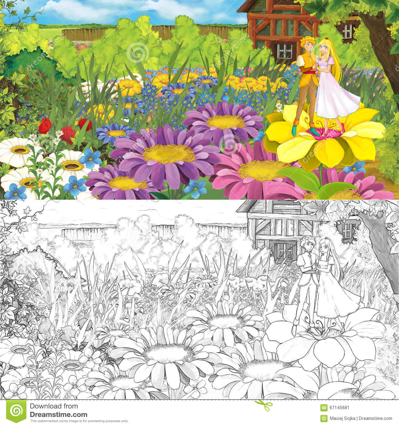 Download Cartoon Farm Scene With Prince And Princess On Flowers