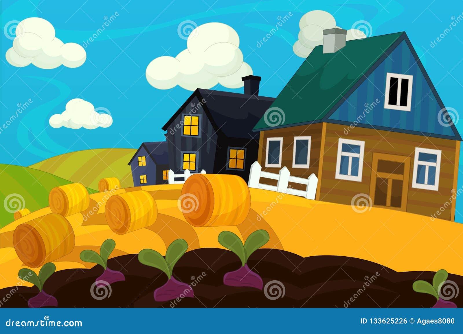 Cartoon farm scene - traditional village - for different usage