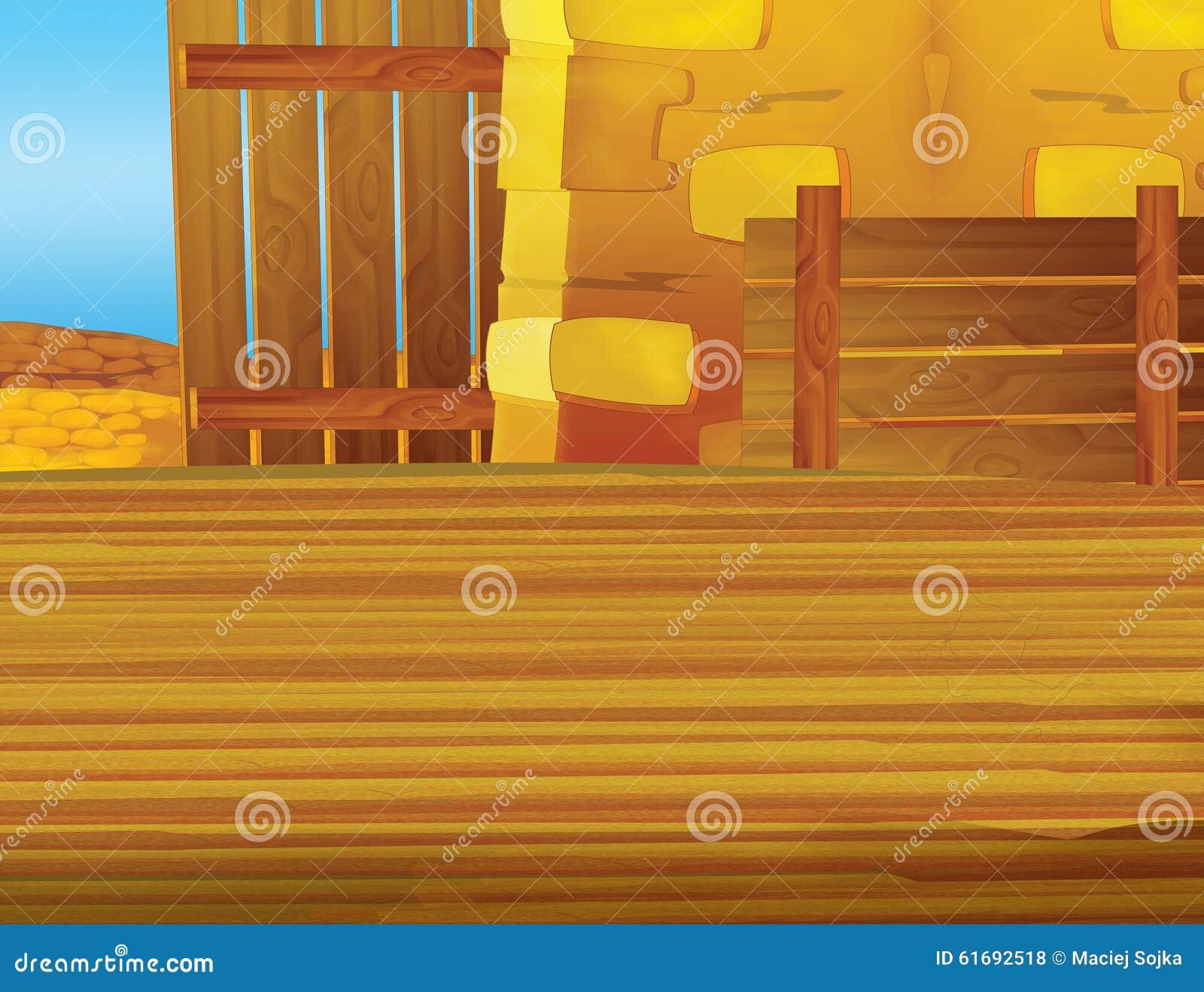 cartoon farm scene with wooden barn interior background stock