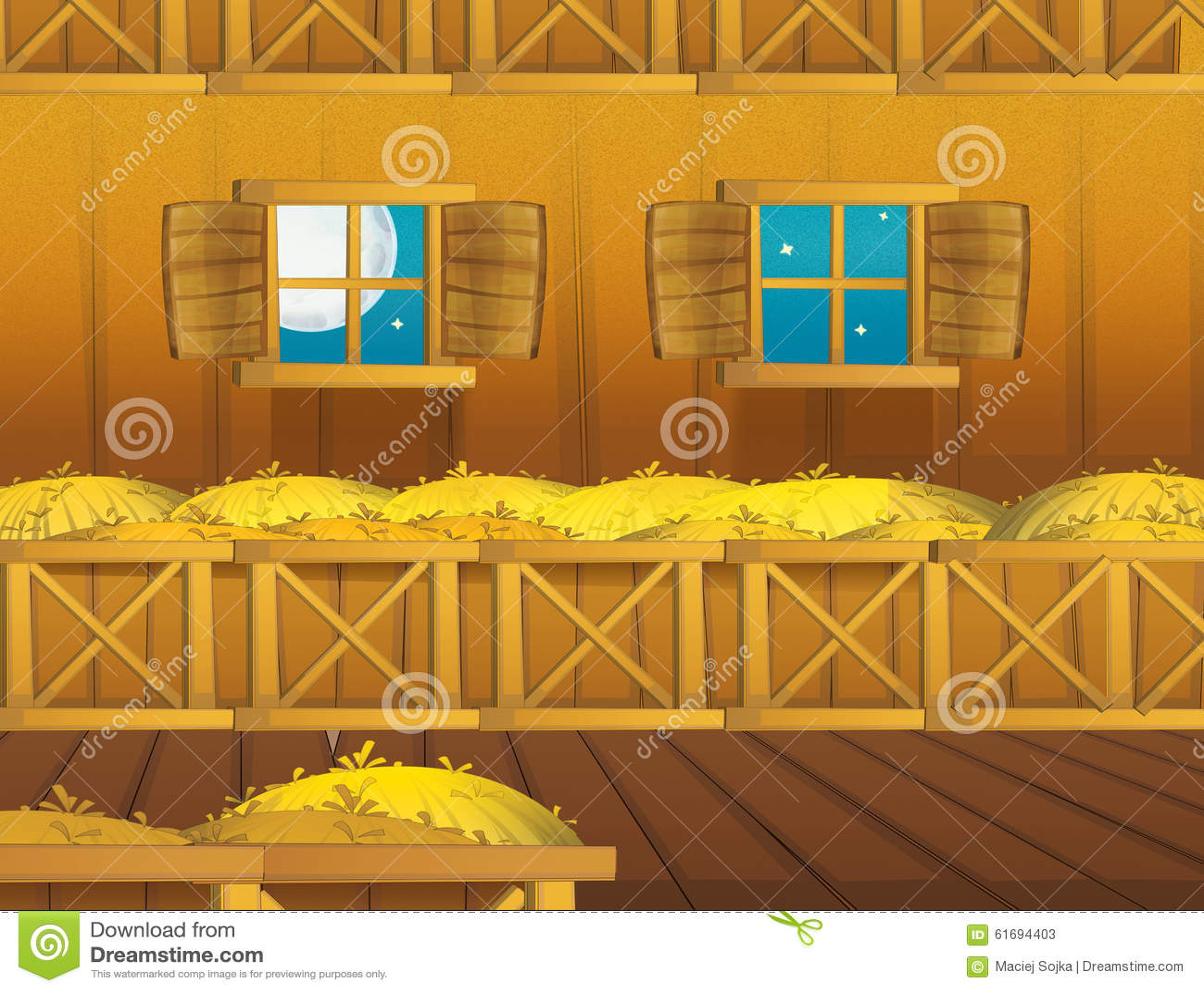 Cartoon Farm Scene With Wooden Barn Interior