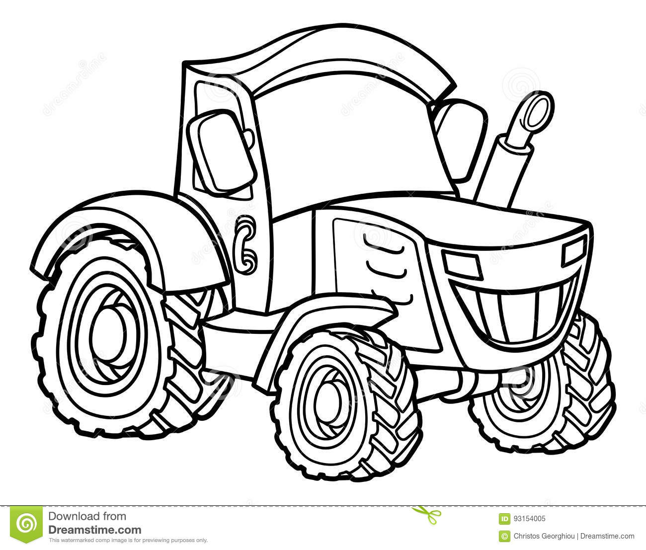 Coloring Tractor Cartoon Cartoon Vector Cartoondealer