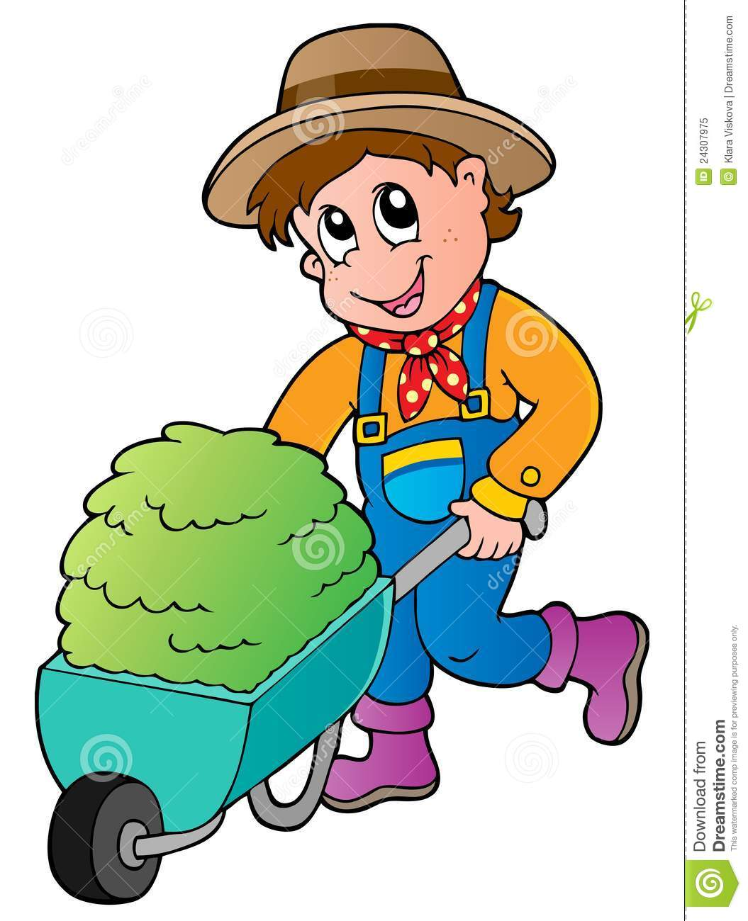 Hay Farmer Tractor Cartoon : Cartoon farmer with small hay cart stock vector