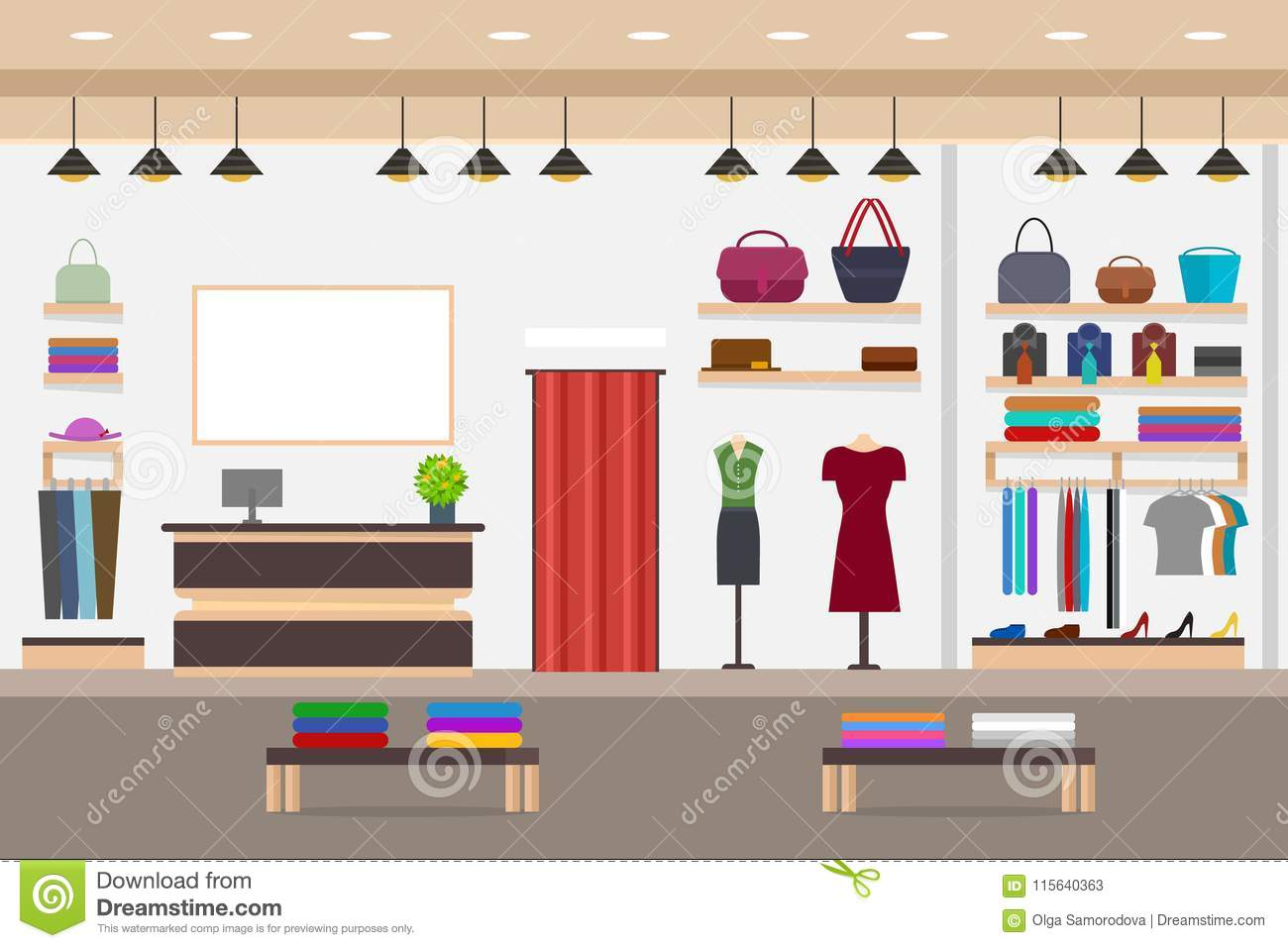 cartoon fashion shop interior with furniture card poster vector