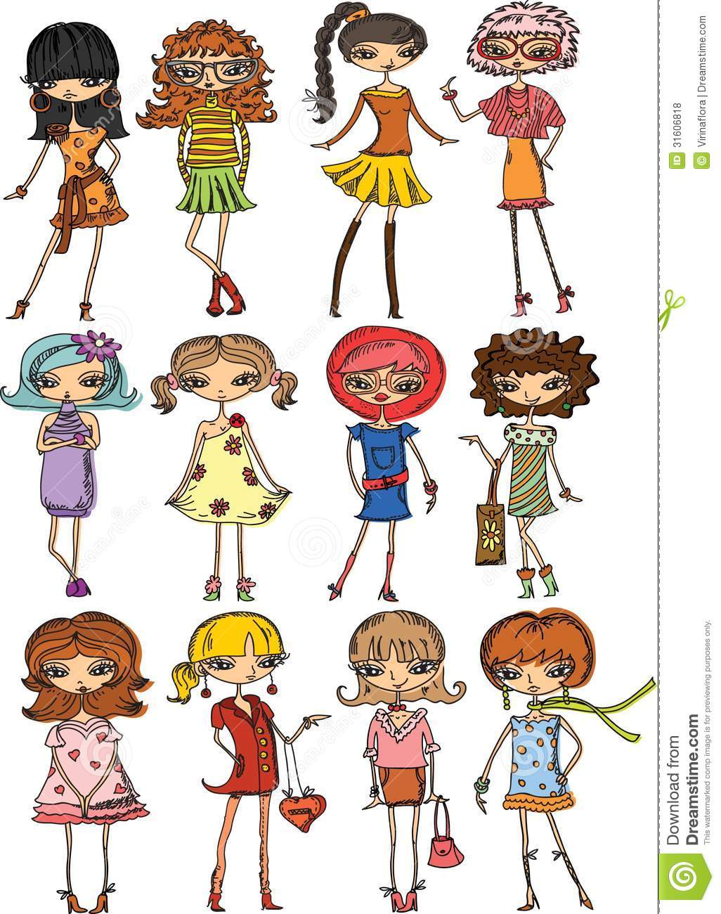 Cartoon Fashionable Girlsvector Royalty Free Stock Photos