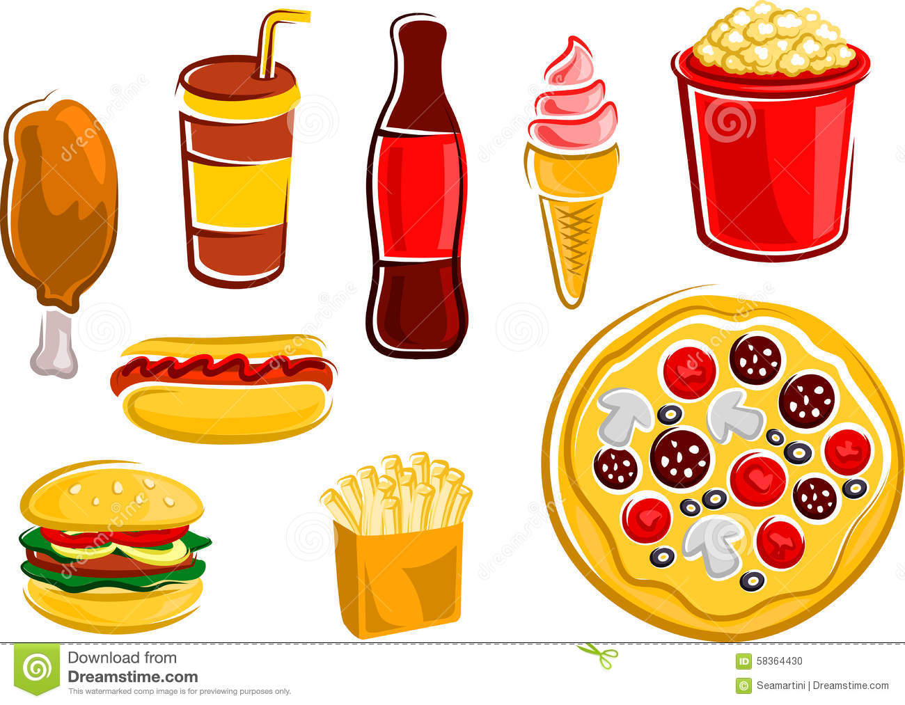snacks fast cartoon drinks fries chicken french dog pizza cup fried rapida hamburger popcorn bucket bottle vector spuntini alimenti bevande