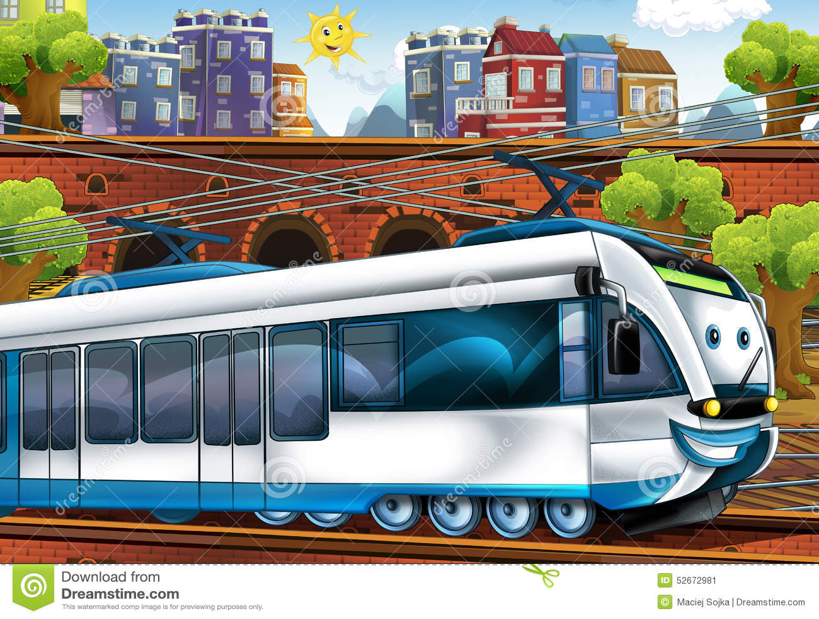 cartoon fast train train station stock illustration image