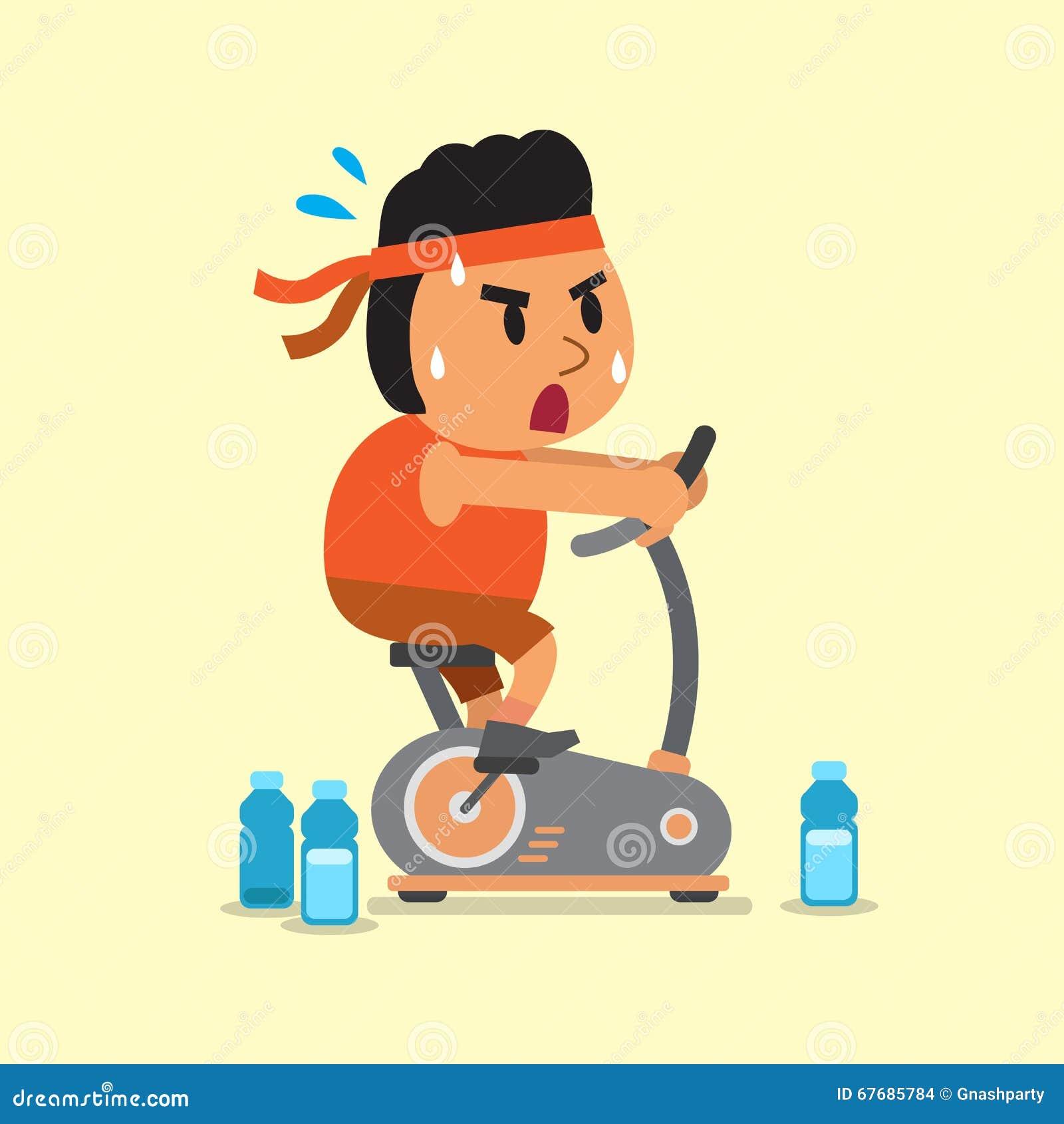 Cartoon A Fat Man Riding Exercise Bike Stock Vector