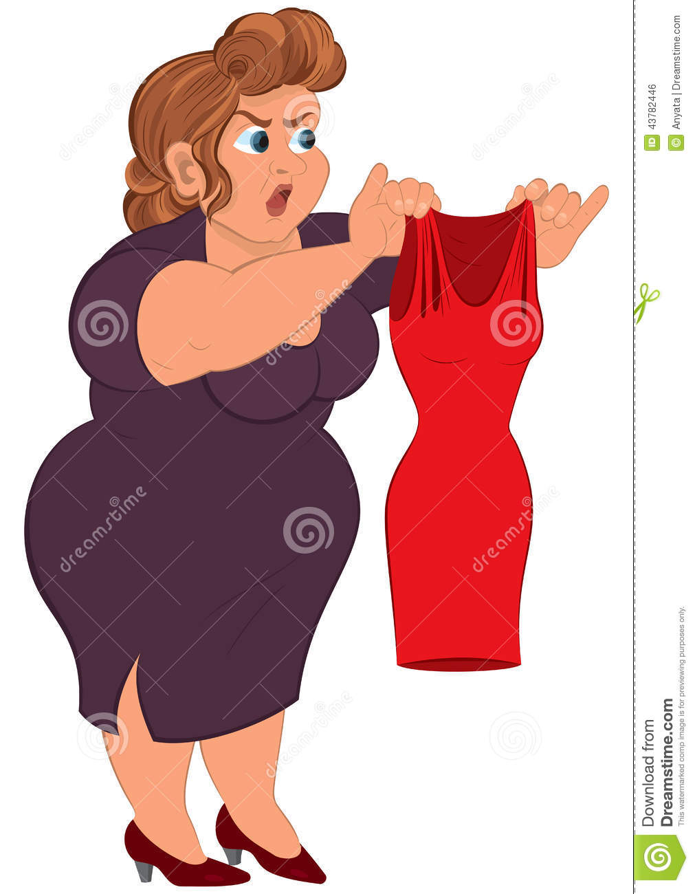 Cartoon Fat Woman In Purple Dress Holding Small Red Dress -4780