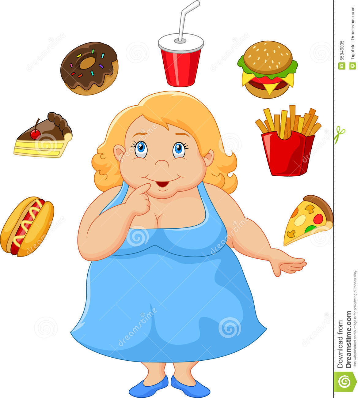Cartoon Fat Women A Think Food Stock Vector - Illustration ...