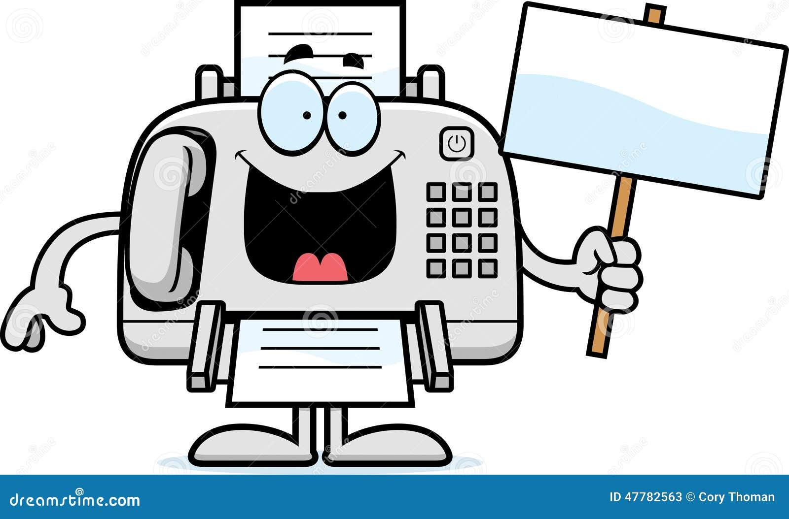 cartoon fax machine sign stock vector