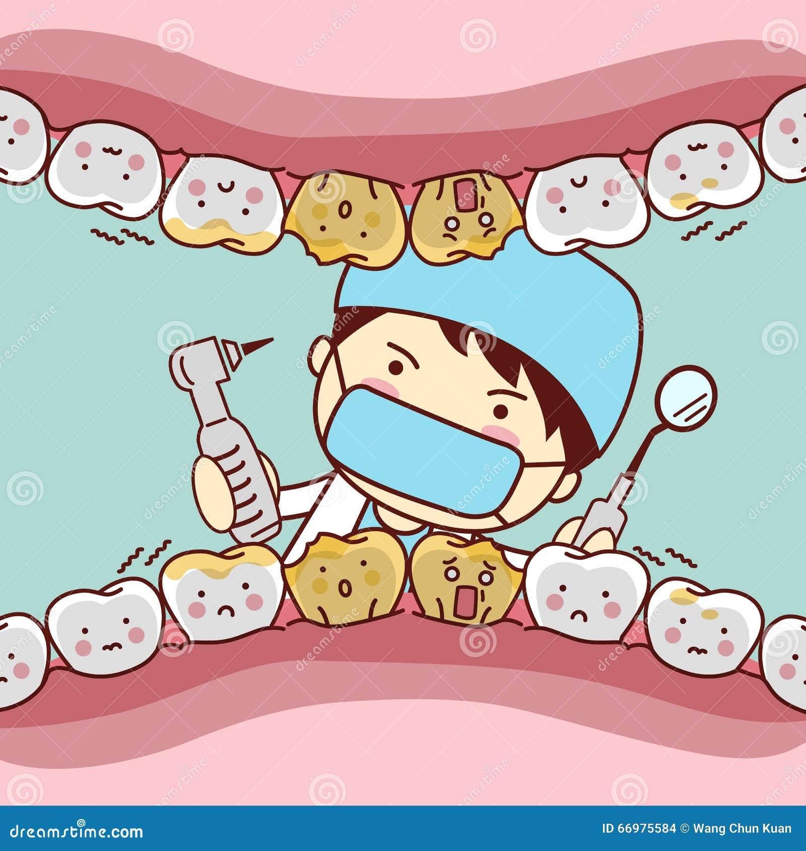 Cartoon fear tooth with dentist
