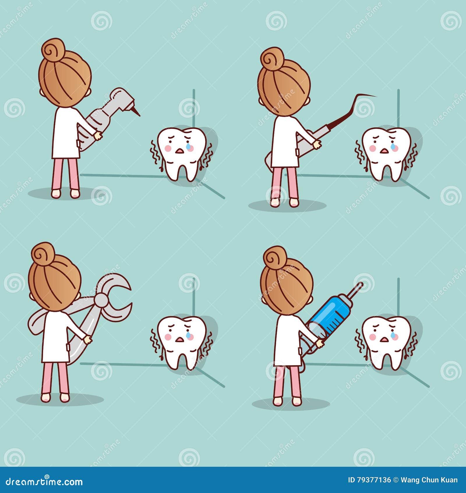 Cartoon Fear Tooth With Dentist Vector Illustration