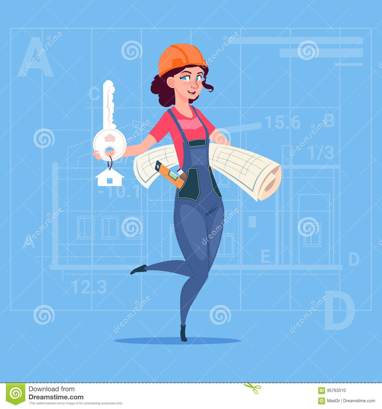 Cartoon Female Builder Holding Key From New House And Blueprint Over Abstract Plan Background