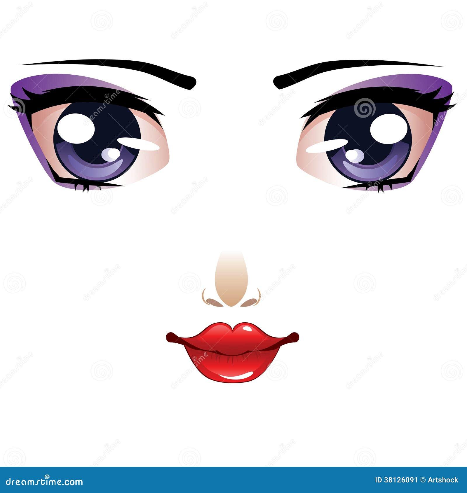 A Beautiful Cartoon Girl Face Beautiful cartoon female face
