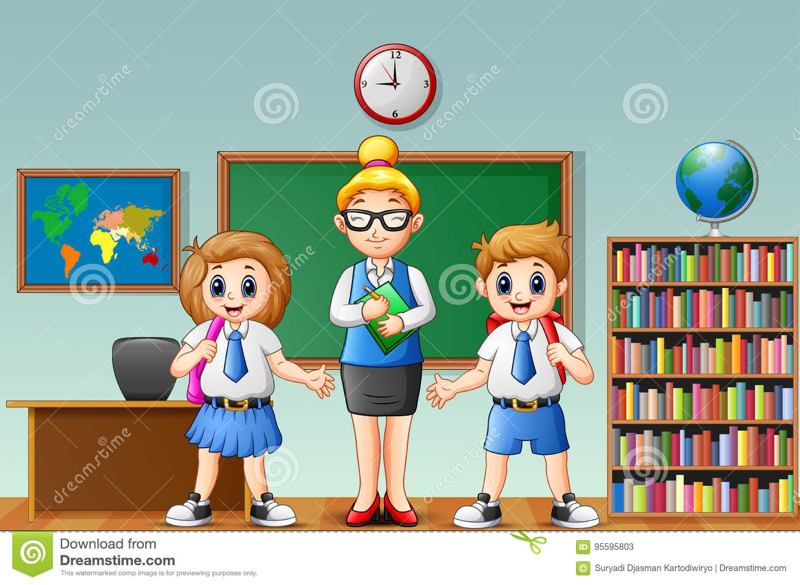 cartoon female teacher and students in school uniform at