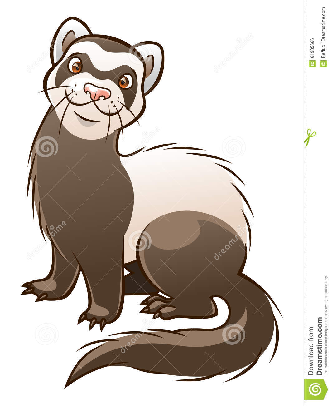 Vector cartoon funny ferret on the white background.