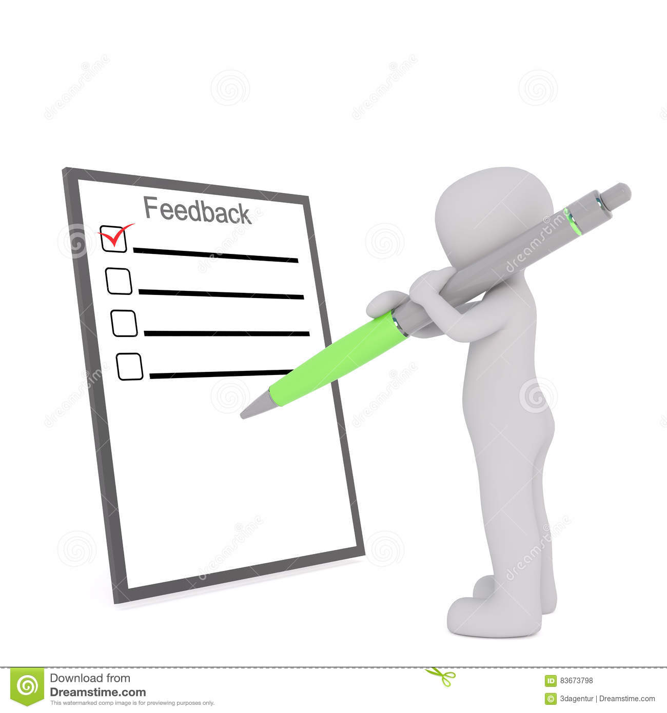 Cartoon Figure Filling Out Feedback Form With Pen Stock