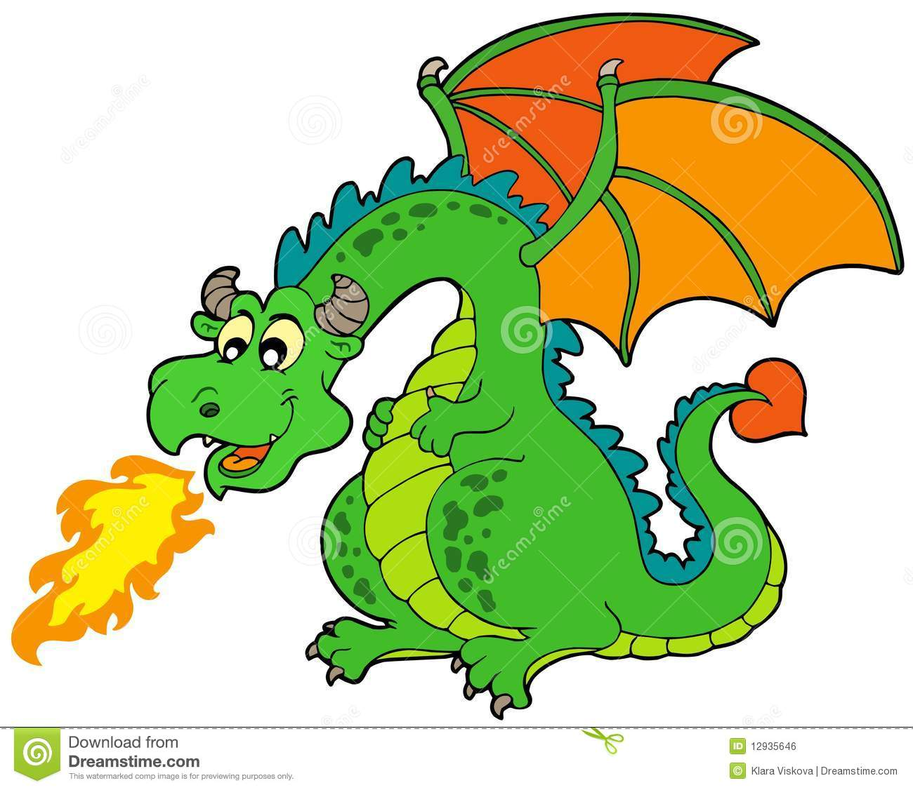 Cartoon fire dragon stock vector image of graphic fairytale 12935646 - Dessins dragon ...
