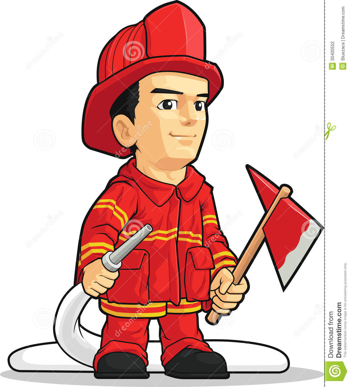 4f02f852f2f61 A vector image of a firefighter holding an axe and a water spray. Drawn in  cartoon style