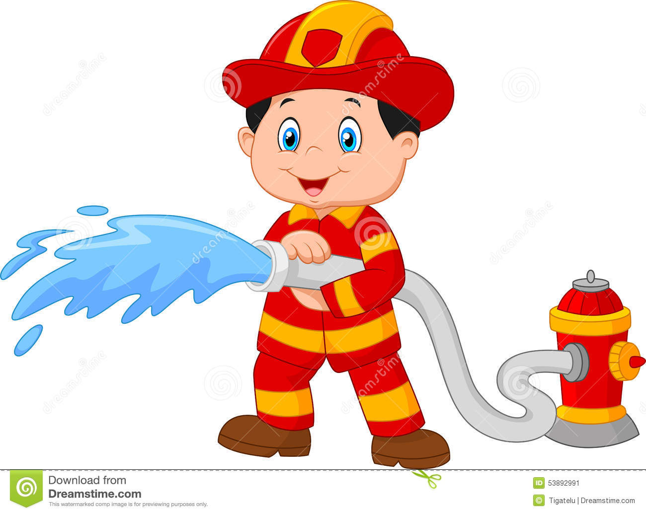 Cartoon Firefighter Pours From A Fire Hose Stock Vector - Image ...