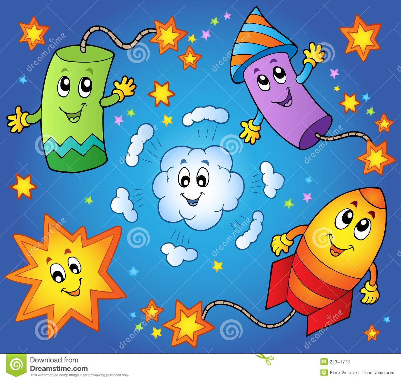 Cartoon Fireworks Theme 1 Royalty Free Stock Photos