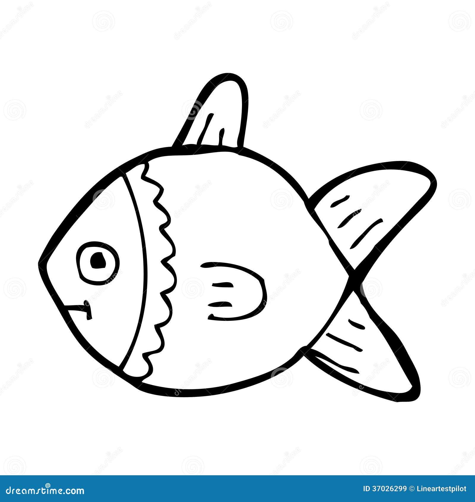 cartoon fish clipart black and white - photo #35