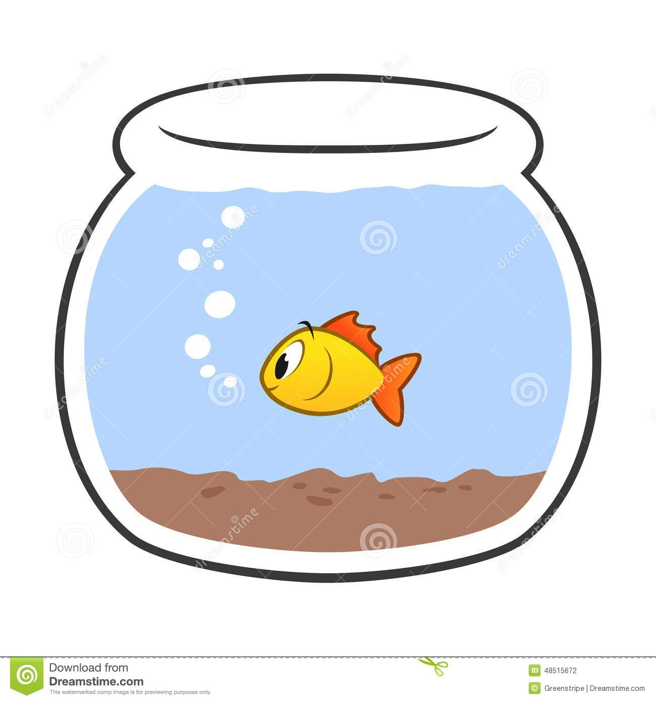 Cartoon fish bowl stock vector illustration of preschool for Easiest fish to care for in a bowl