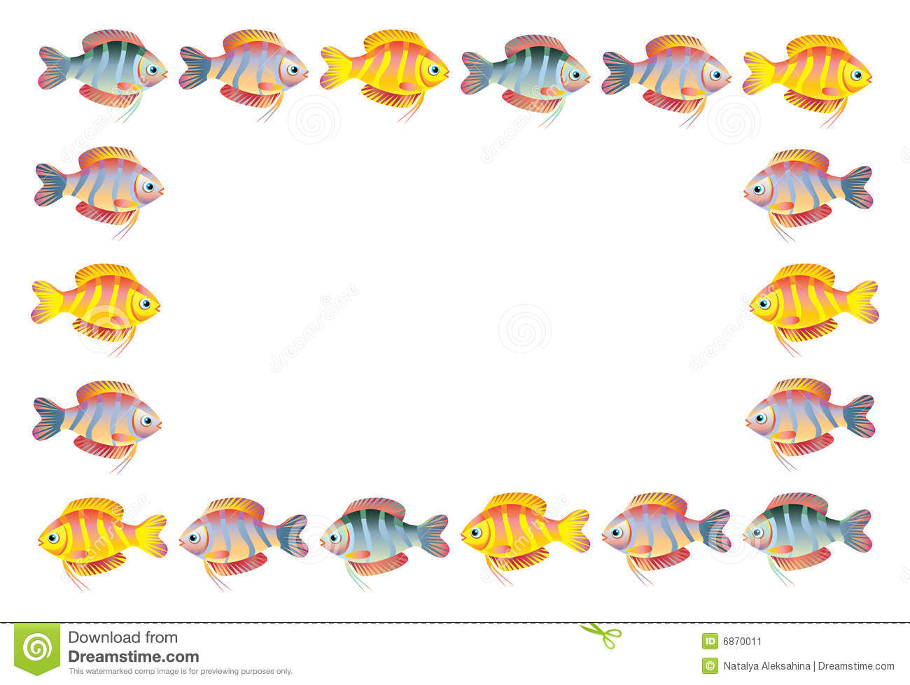 Cartoon fish frame stock vector. Illustration of white - 6870011