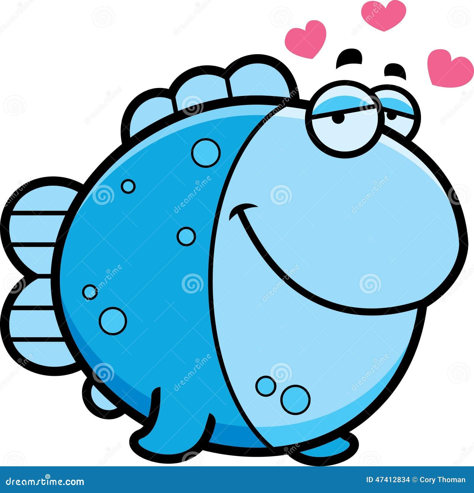 In Love Cartoon: Cartoon Fish In Love Stock Vector