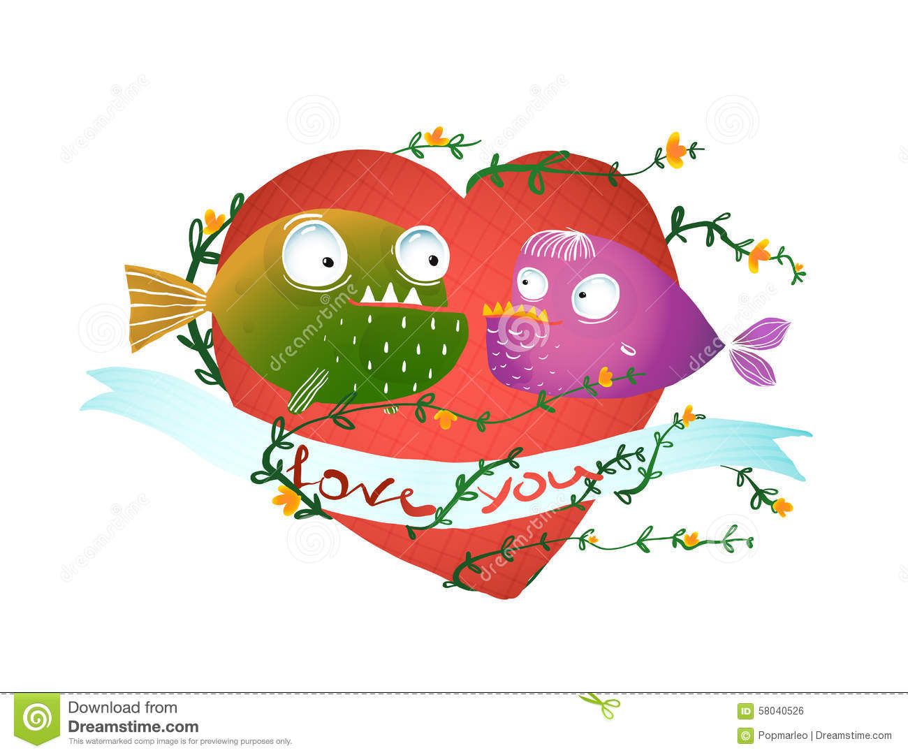 Cartoon Fish In Love With Red Heart For Kids Stock Vector ...
