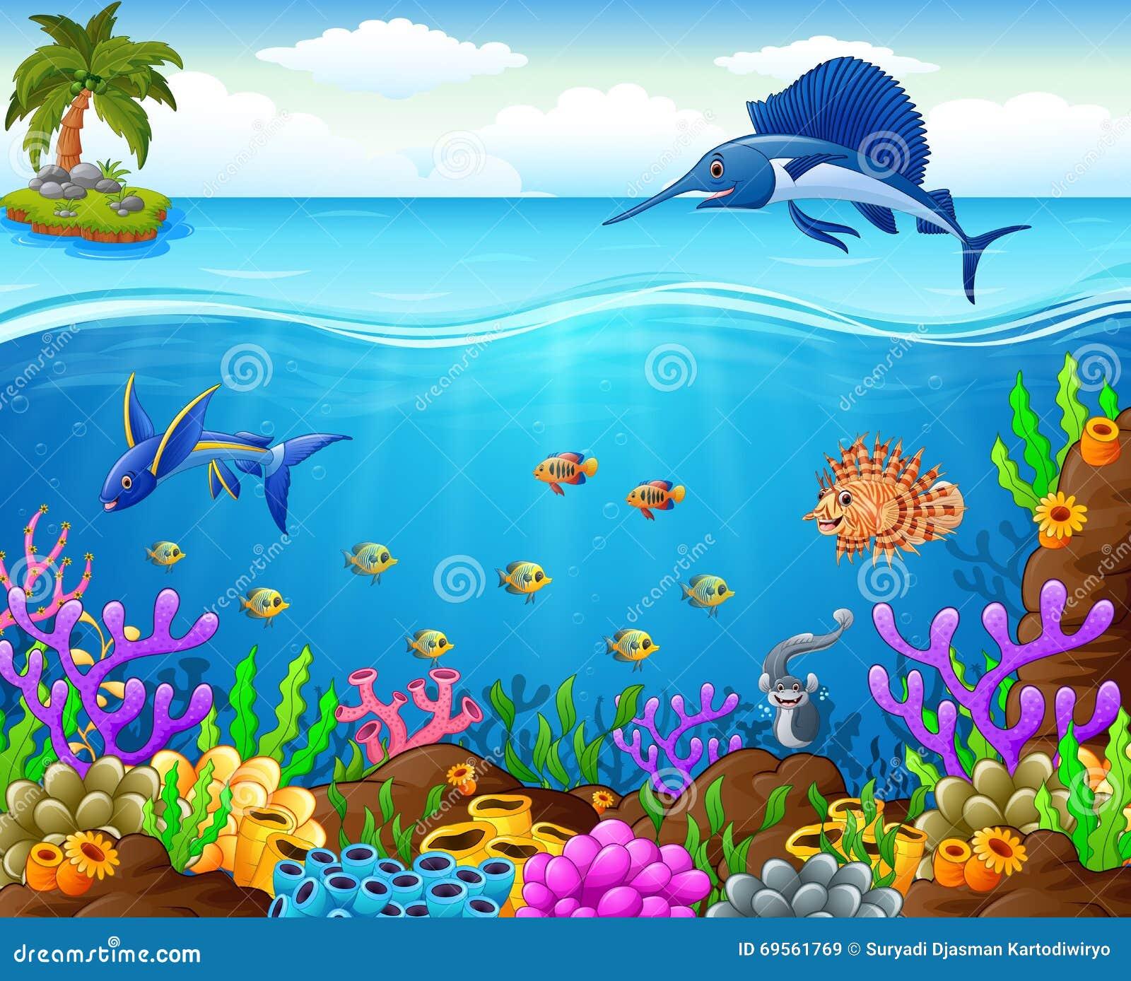 Stock Illustration Cartoon Fish Under Sea Illustration Image69561769
