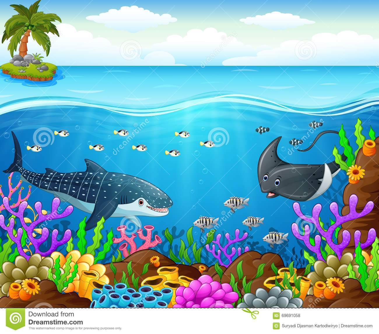 Cartoon fish under the sea stock vector illustration of for Fish under the sea